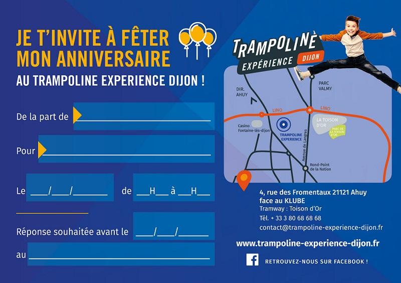 Carton d'invitation Trampoline Experience